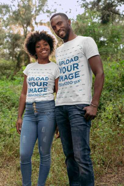 Mockup of a Couple in Nature Wearing T-Shirts 30612