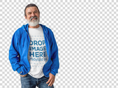 Elder Man Wearing a T-Shirt and Hoodie Mockup a11308