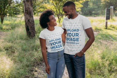 T-Shirt Mockup of a Happy Couple in Nature 30606
