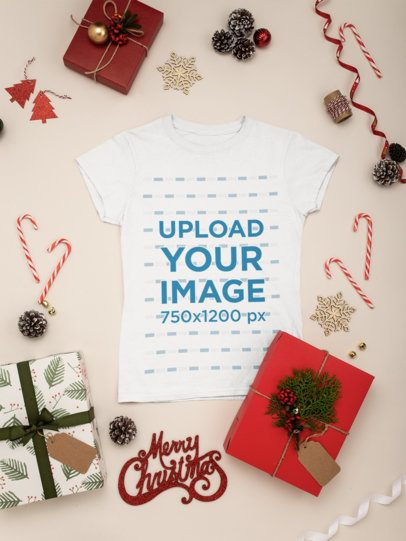 Mockup of a Crewneck T-Shirt Placed with Some Christmas Decorations 30634