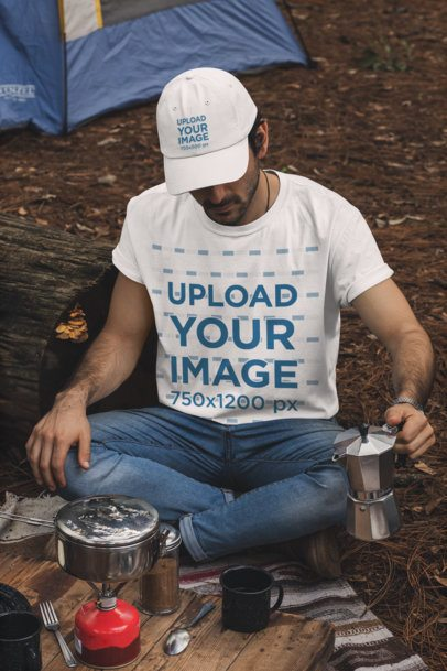 T-Shirt and Dad Hat Mockup of a Man Making Coffee in a Camping Site 30476