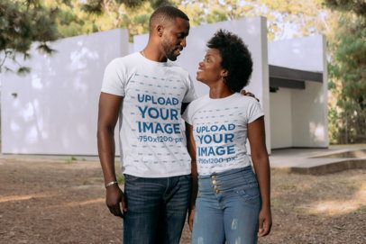 T-Shirt Mockup of a Couple Looking at Each Other 30611