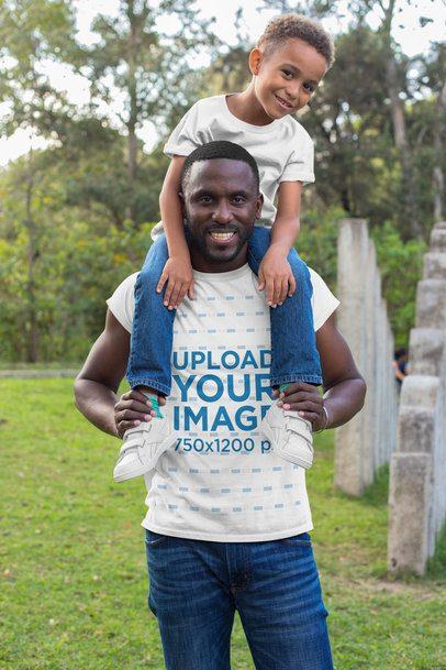 T-Shirt Mockup of a Dad and His Son at a Park 30597