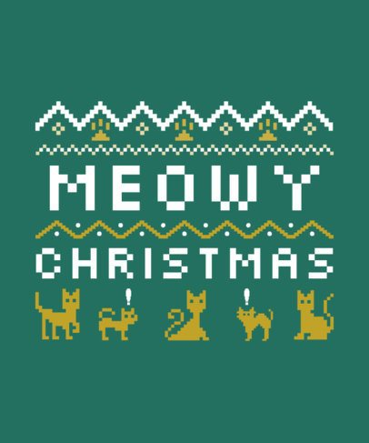Ugly Christmas T-Shirt Template with Cats 29b-el