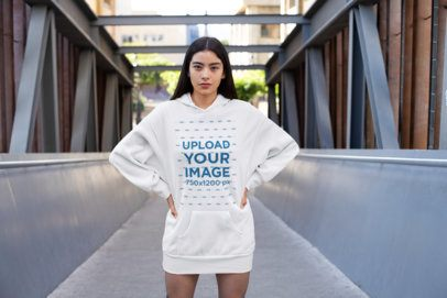 Hoodie Dress Mockup Featuring a Woman Posing 30511