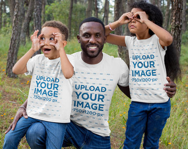 T-Shirt Mockup of a Father and His Two Sons Making Funny Faces 30601