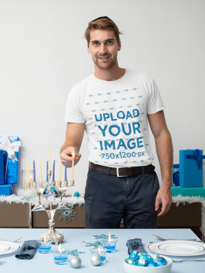 T-Shirt Mockup of a Man Lighting a Hanukkah Candle 30644