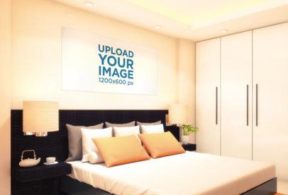 Mockup of a Horizontal Art Print at a Neat Bed Room 830-el