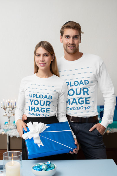 Long Sleeve Mockup of a Couple Celebrating Hanukkah 30638