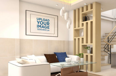 Mockup of a Decorative Poster Frame on a Modern Living Room Wall 831-el