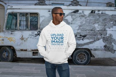 Pullover Hoodie Mockup of a Cool Man in an Urban Scenario 30459