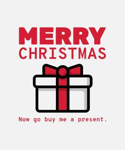 Cool Christmas T-Shirt Design Template Featuring a Present Clipart 31a-el
