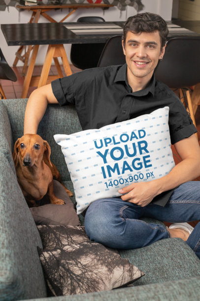 Mockup of a Man Holding a Pillow While Petting a Dog 30679