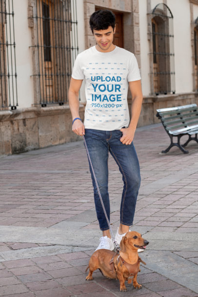 T-Shirt Mockup of a Man Walking His Dog 30683