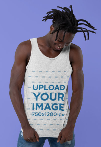 Heathered Tank Top Mockup of a Man with Locs at a Studio 30551