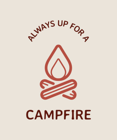 T-Shirt Design Template for Hikers with a Campfire Illustration 25b-el