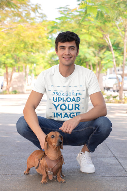T-Shirt Mockup of a Man on the Street with His Dog 30685