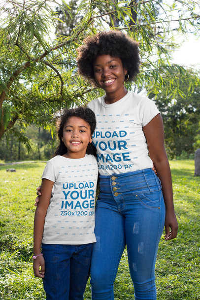 T-Shirt Mockup Featuring Mother and Daughter in Nature