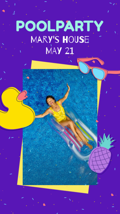 Instagram Story Maker for a Pool Party Invitation 1989a-el