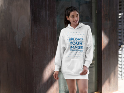 Mockup of a Smiling Woman Wearing a Hoodie Dress 30522