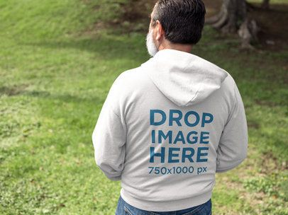 Back of a Senior Man Wearing a Hoodie Mockup Outdoors a11315b