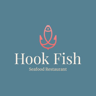 Seafood Restaurant Logo Creator with a Hook Graphic 1801i 249-el
