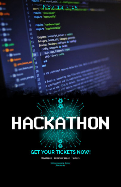 Customizable Flyer Template for Hackathons and Tech Conferences 119b