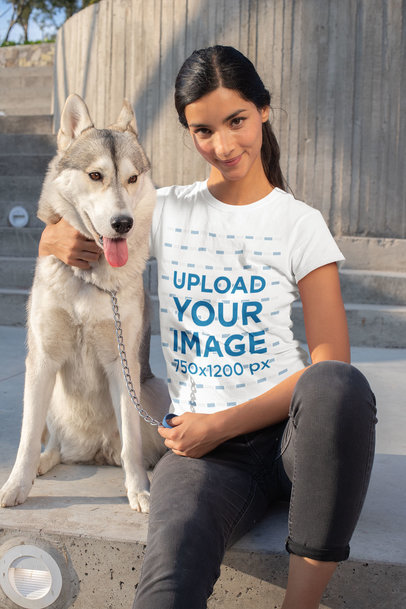 T-Shirt Mockup of a Woman Posing with Her Dog 30658