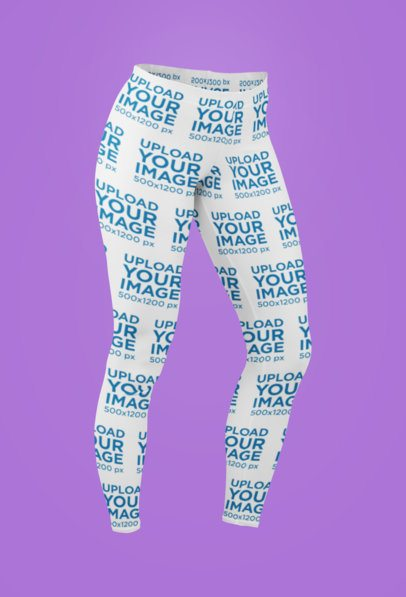 Ghosted Mockup of Sublimated Leggings Featuring a Plain Background 29514