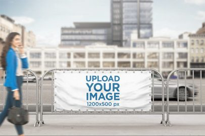 Horizontal Banner Mockup of a Barrier Banner at a Busy Street 892-el