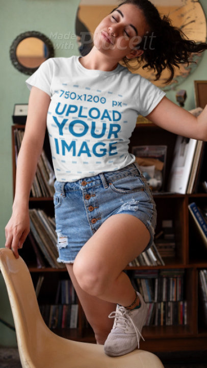 T-Shirt Video of a Woman Posing on a Chair 22445