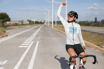 Mockup of a Female Cyclist Wearing a Long Sleeve Cycling Jersey 30778