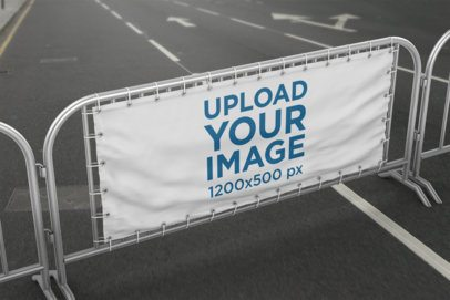 Horizontal Banner Mockup Featuring a Barrier Banner on a Street 893-el