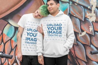 Mockup of an LGBT Couple Wearing a T-Shirt and a Pullover Hoodie 30436
