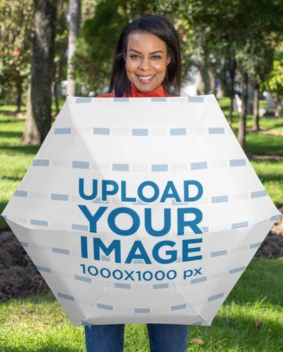 Umbrella Mockup Featuring a Smiling Woman at a Park 30729