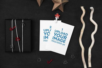 Mockup of Two Postcards Surrounded by Christmas-Themed Supplies 1260-el