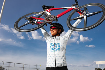 Long Sleeve Cycling Jersey Mockup of a Woman Lifting a Bicycle 30791