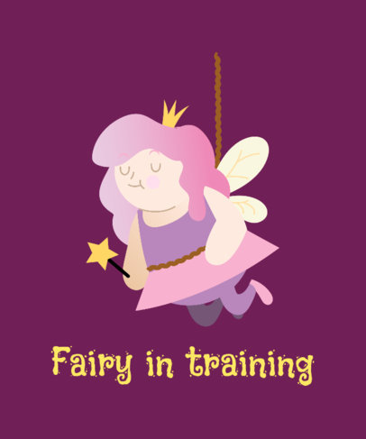 Funny T-Shirt Design Template Featuring a Magical Fairy Illustration 2008g