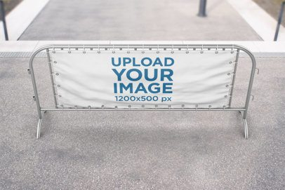 Mockup of a Barrier Banner on a Concrete Lane 894-el