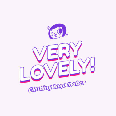 Clothing Brand Logo Creator with a Cute Girly Illustration 2735e
