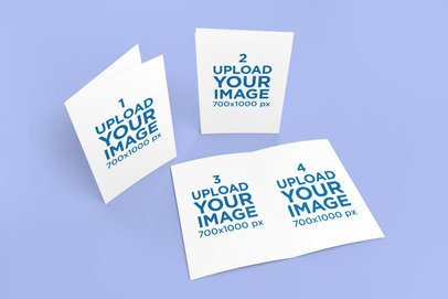 Mockup of a Set of Greeting Cards Against a Customizable Backdrop 1128-el