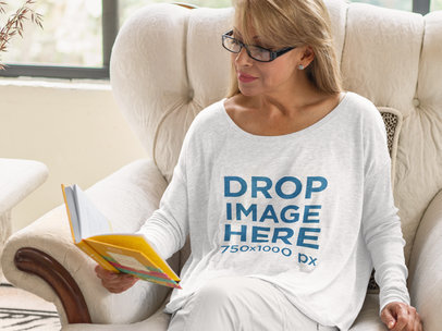 Long Sleeve T-Shirt Mockup of a Woman Reading at Home a11370