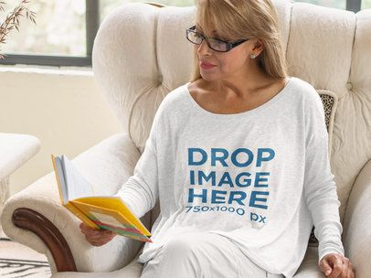 Long Sleeve T-Shirt Mockup of a Woman Reading at Home a11370