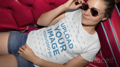 T-Shirt Video of a Woman with Heart-Shaped Sunglasses Sitting on a Couch 22440