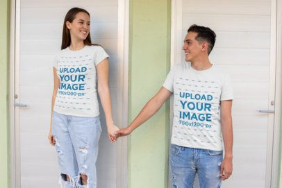 T-Shirt Mockup of a Romantic Couple Looking at Each Other 30741