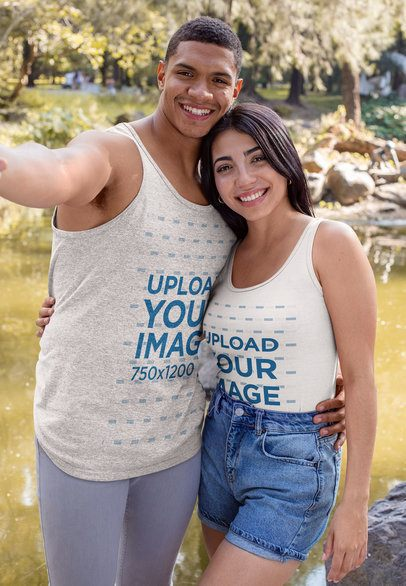 Tank Top Mockup of a Happy Couple Posing in the Park 30537