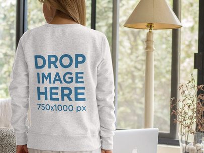 Lady Wearing a Crewneck Sweater Mockup from the Back a11372b