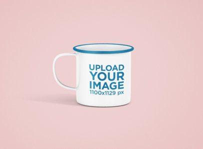 Mockup of a 12 oz Enamel Mug with a Color Rim 1205-el
