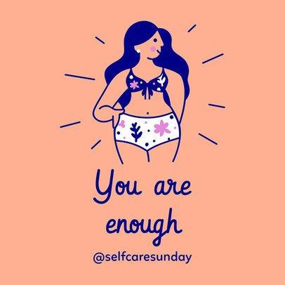 Wellness Instagram Post Maker Featuring Women's Self-Care Illustrations 2024