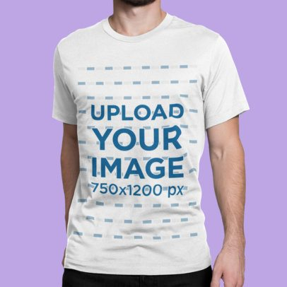 Mockup of a Man Wearing a T-Shirt Against a Customizable Background 1423-el